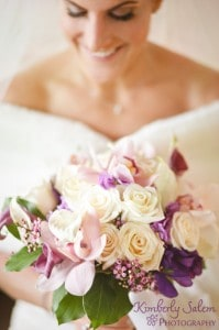 Bride with bouquet flowers