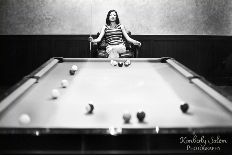 Diana - pool table b&w