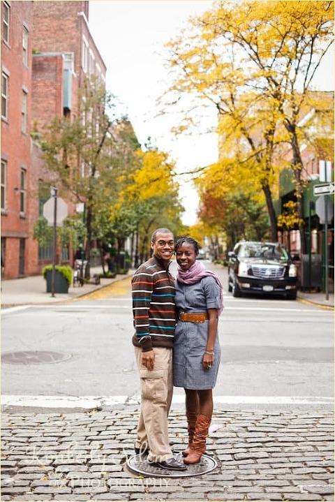 Damian and Melinda with fall foliage