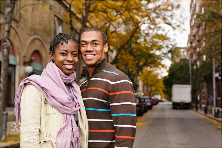 Melinda and Damian in nyc with fall foliage - horizontal