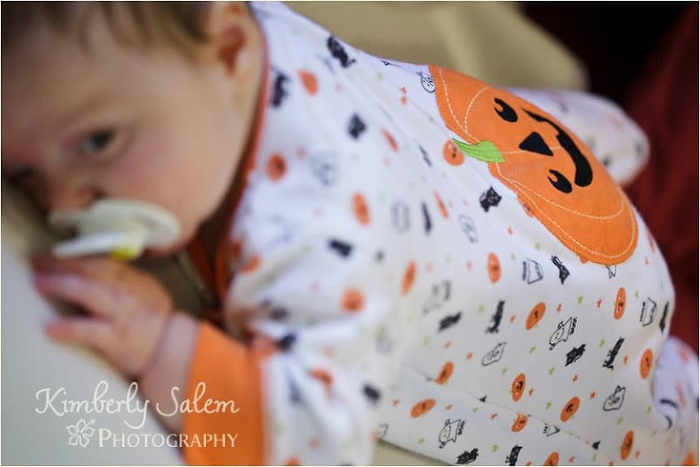 P with her cute pumpkin jammies
