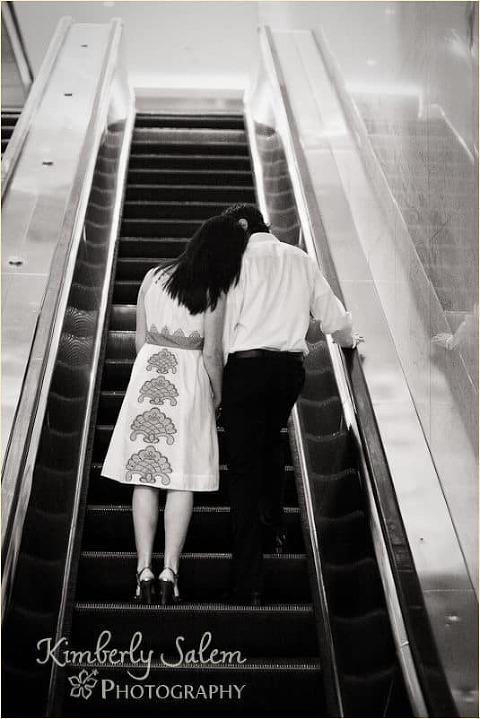 Sarah and David on Escalator