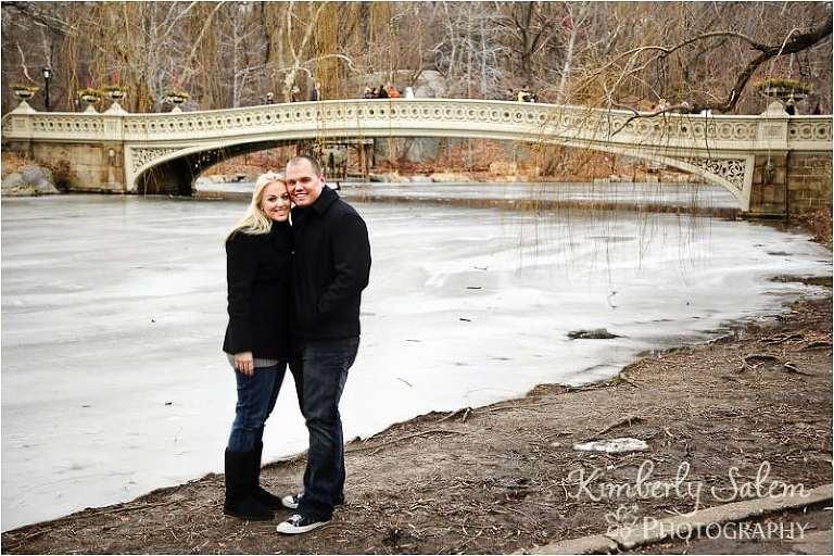 Rachel & Teddy by the lake near the bridge