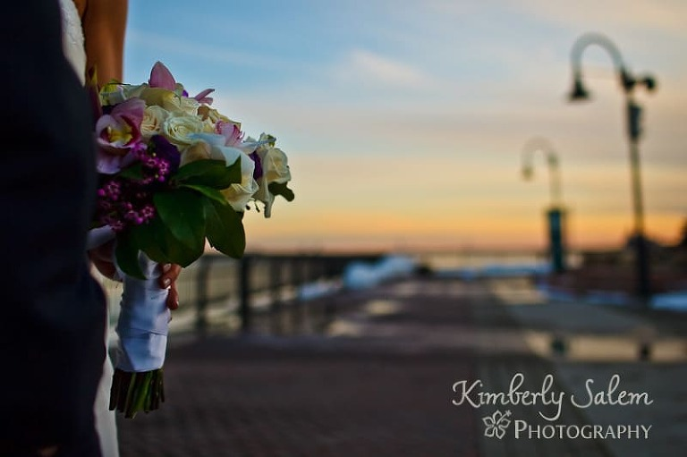 Bridal bouquet in the sunset