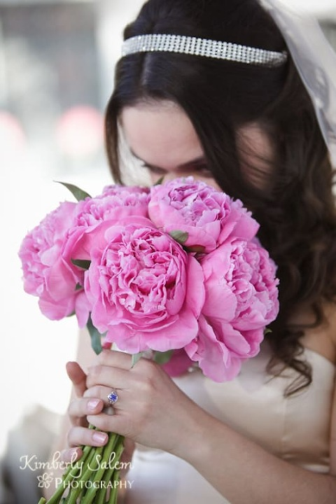 Desiree with her pink peony bouquet