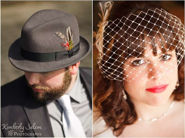 Andy in a fedora and Dani in a birdcage veil