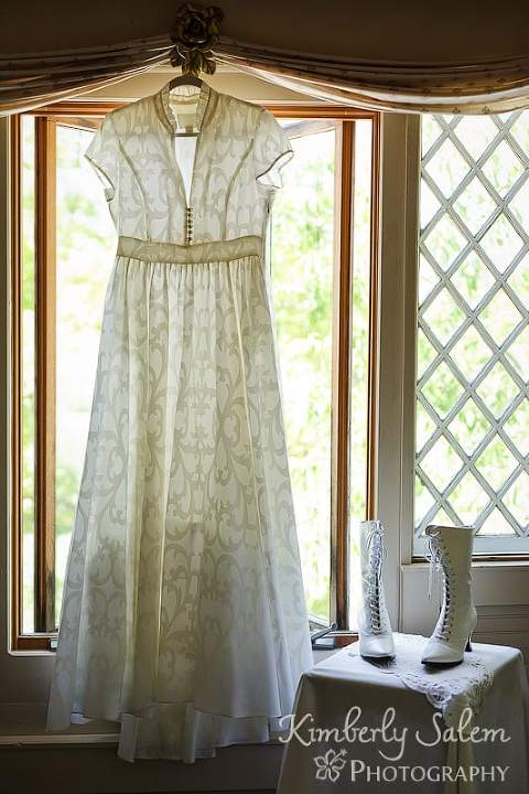 JCrew Daphne dress in window with bridal boots