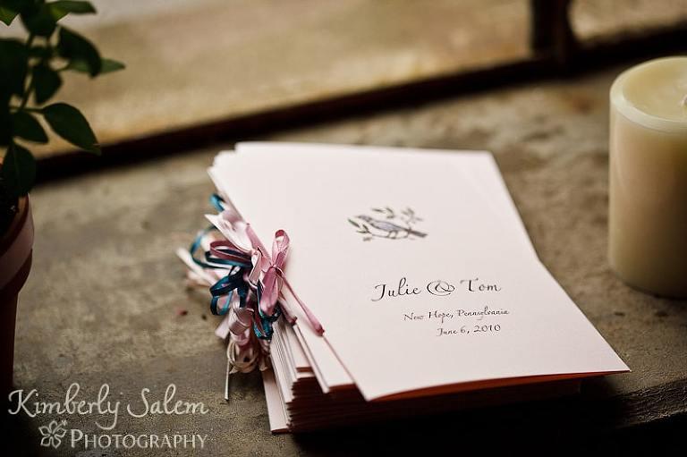 Julie and Tom - New Hope, PA - wedding programs