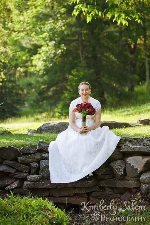 The bride Tara on the grounds of the Deer Mountain Inn in Tannersville NY