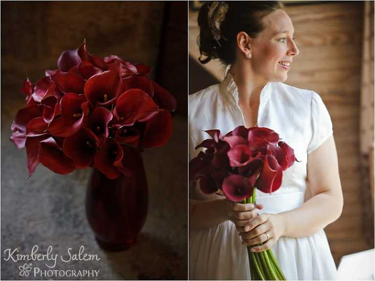 Tara in her dress and her bouquet of red calla lilies