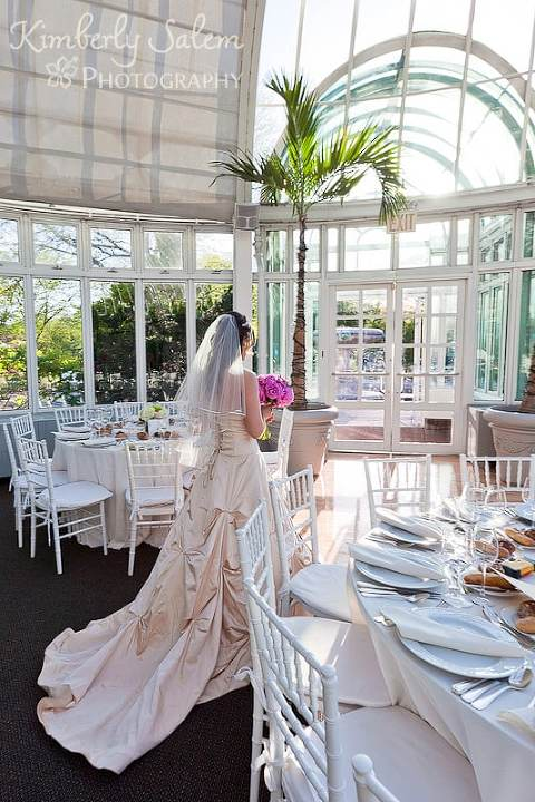 Bride in the Palm House of the Brooklyn Botanical Garden wedding venue