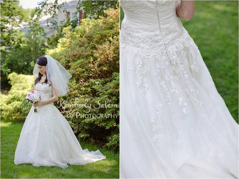 bridal portrait and wedding gown detail