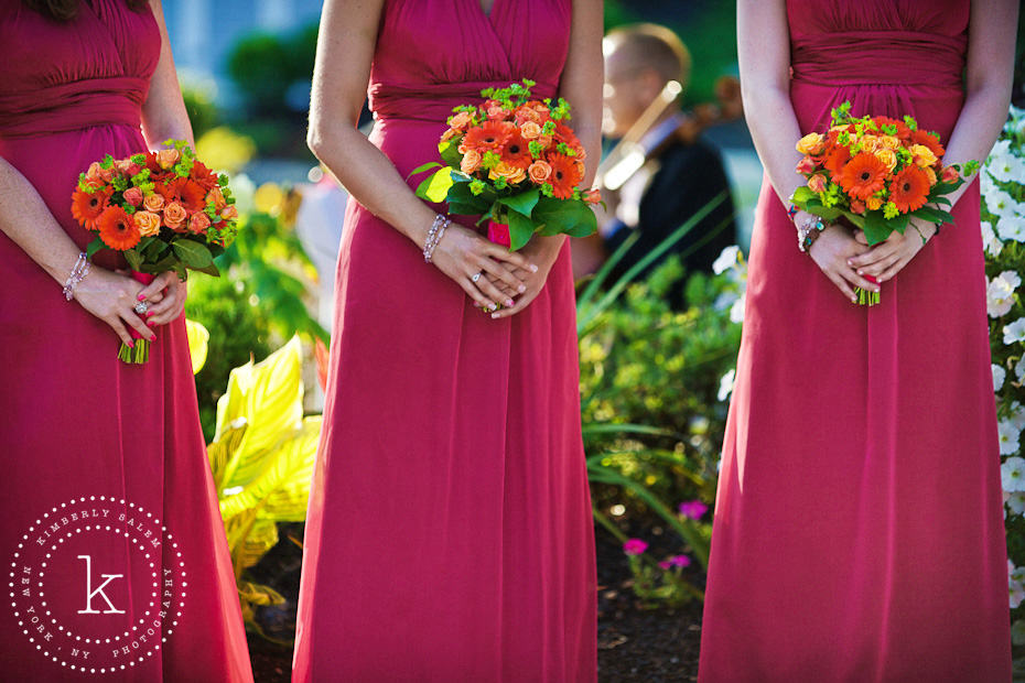 bridesmaid dress detail with bouquets