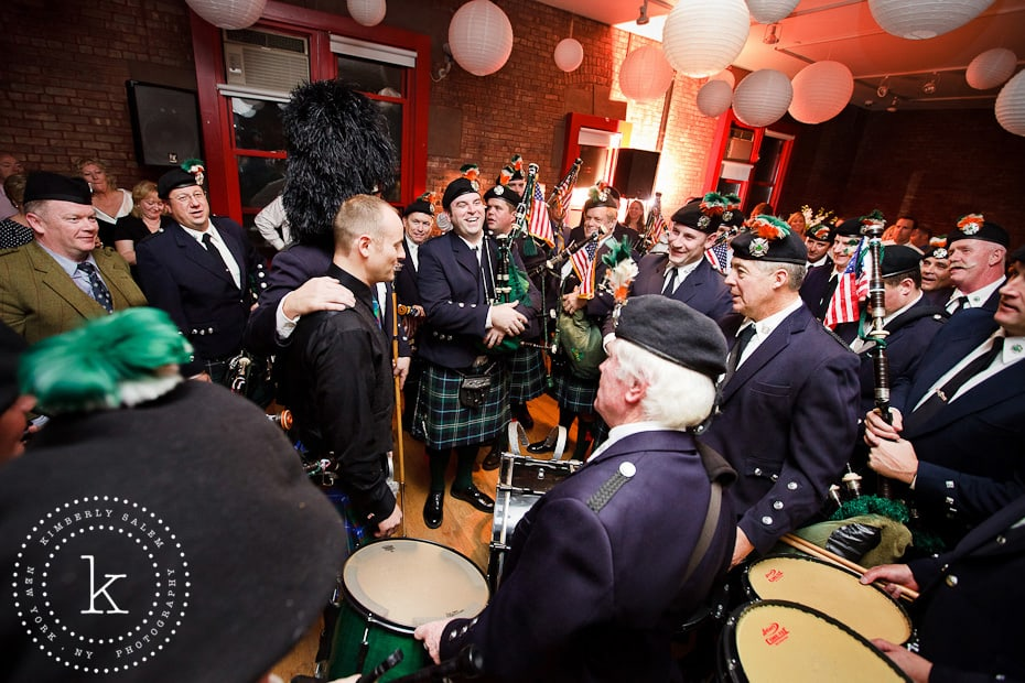Irish drums and pipes FDNY at wedding reception