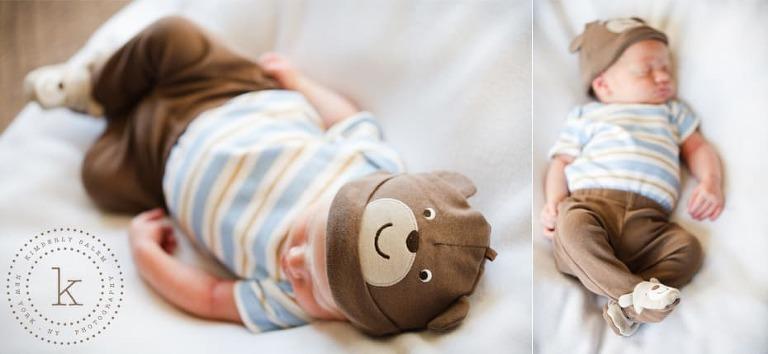 infant wearing bear hat