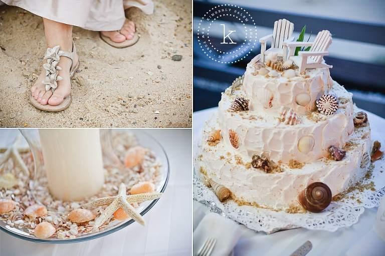 beach wedding details - shoes, cake, centerpiece