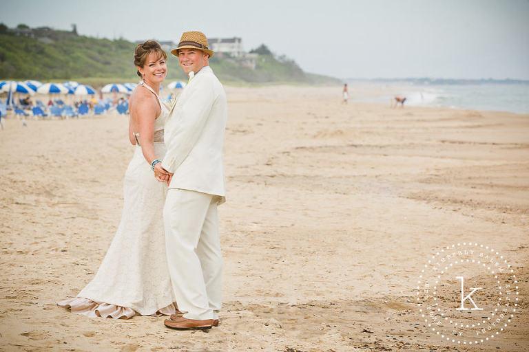bride and groom portrait on beach