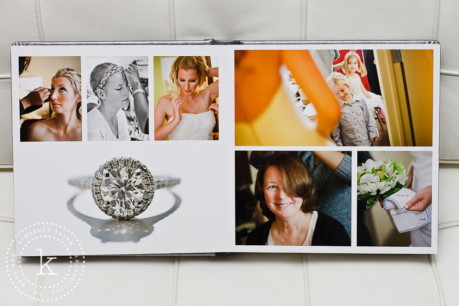 wedding album spread with ring detail - 2