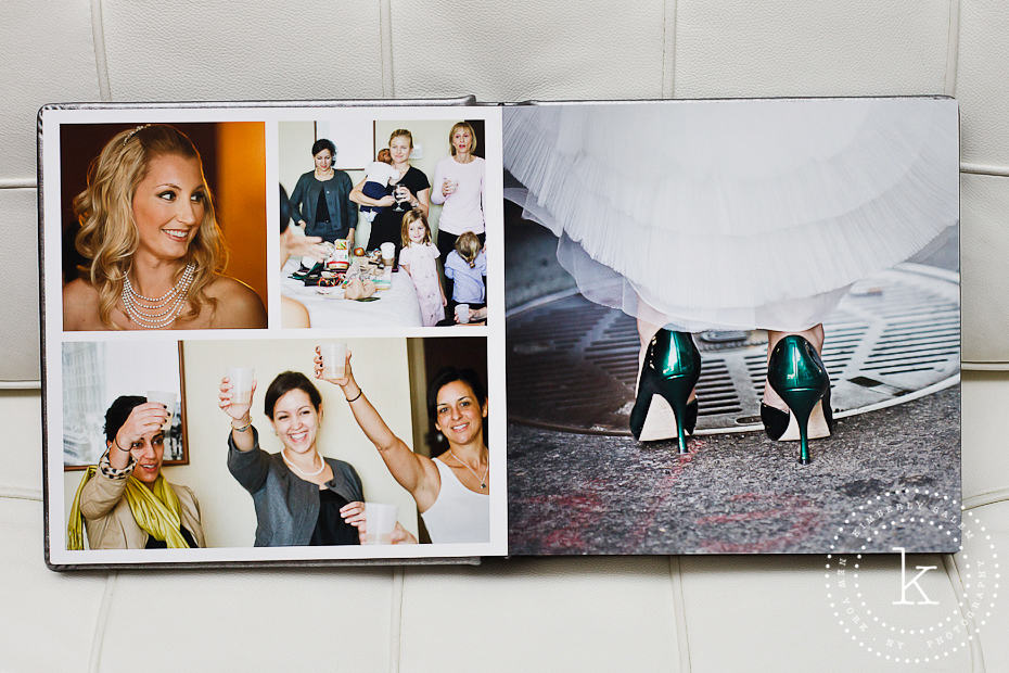 wedding album spread with shoe detail - 3