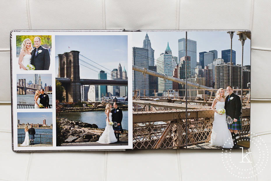 wedding album spread - brooklyn bridge - 5