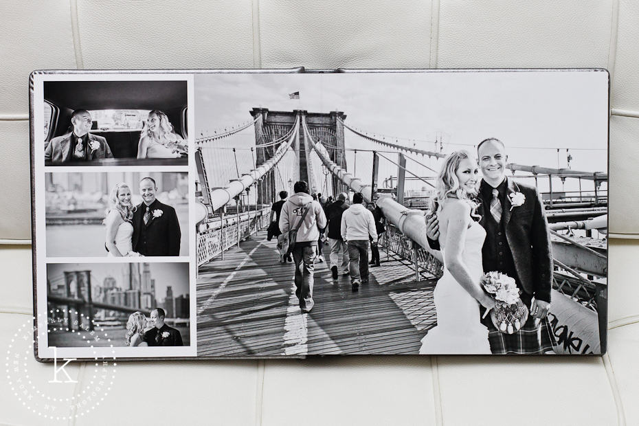 wedding album spread - black and white with brooklyn bridge - 6
