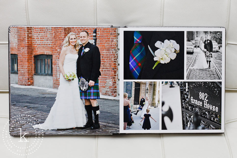 wedding album spread with brick wall portrait - 7