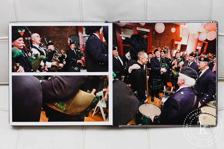 wedding album spread - bagpipes - 15
