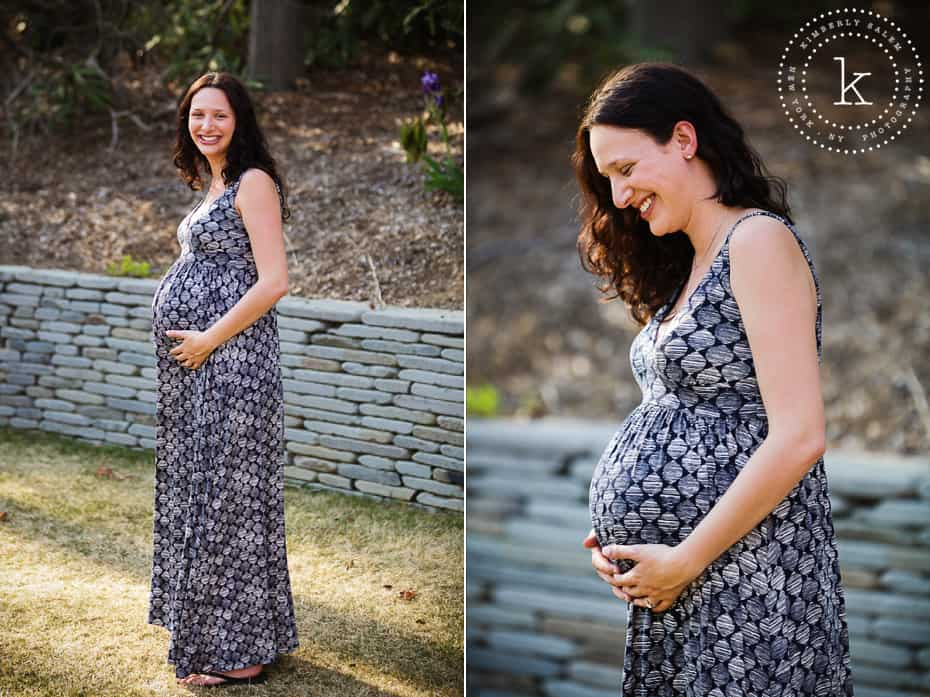 Long Island maternity portrait - stone wall background