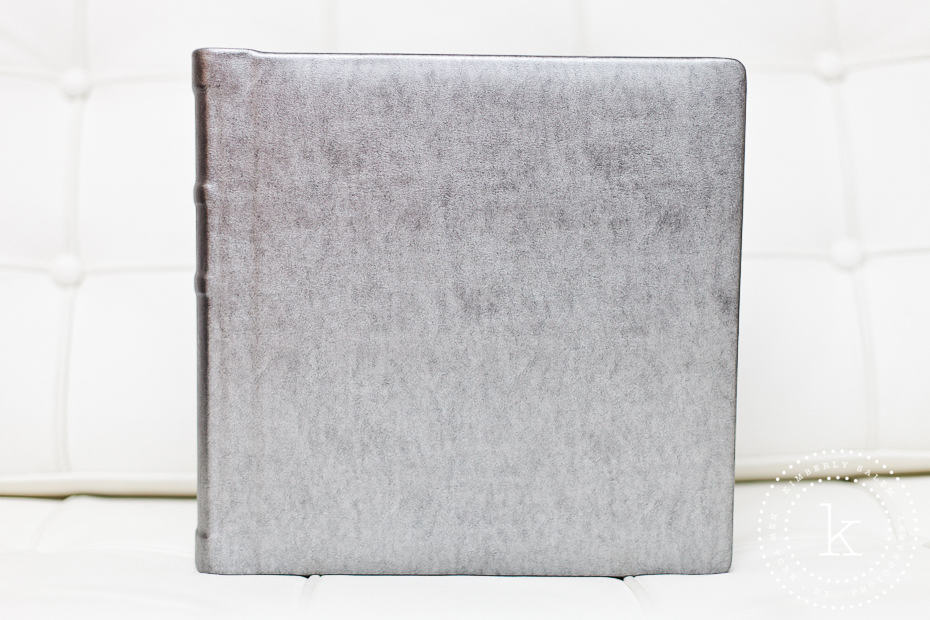 wedding album with silver cover