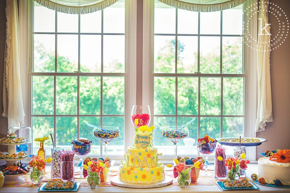 table with birthday cake and candy