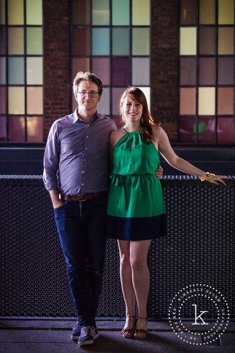 engaged couple - new york - colorful windows