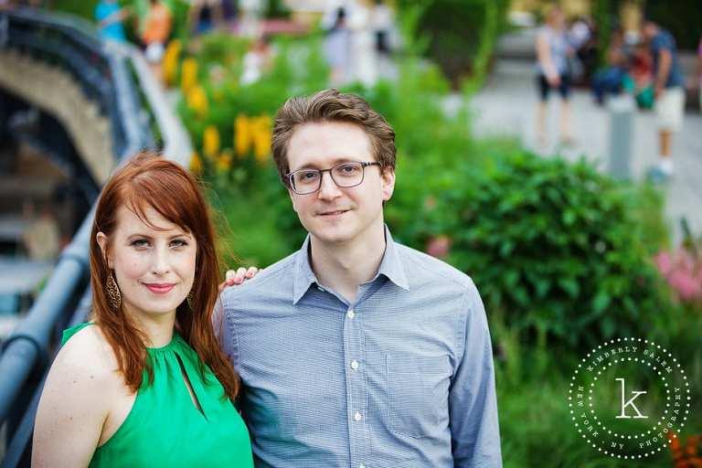 engaged couple - new york - high line park