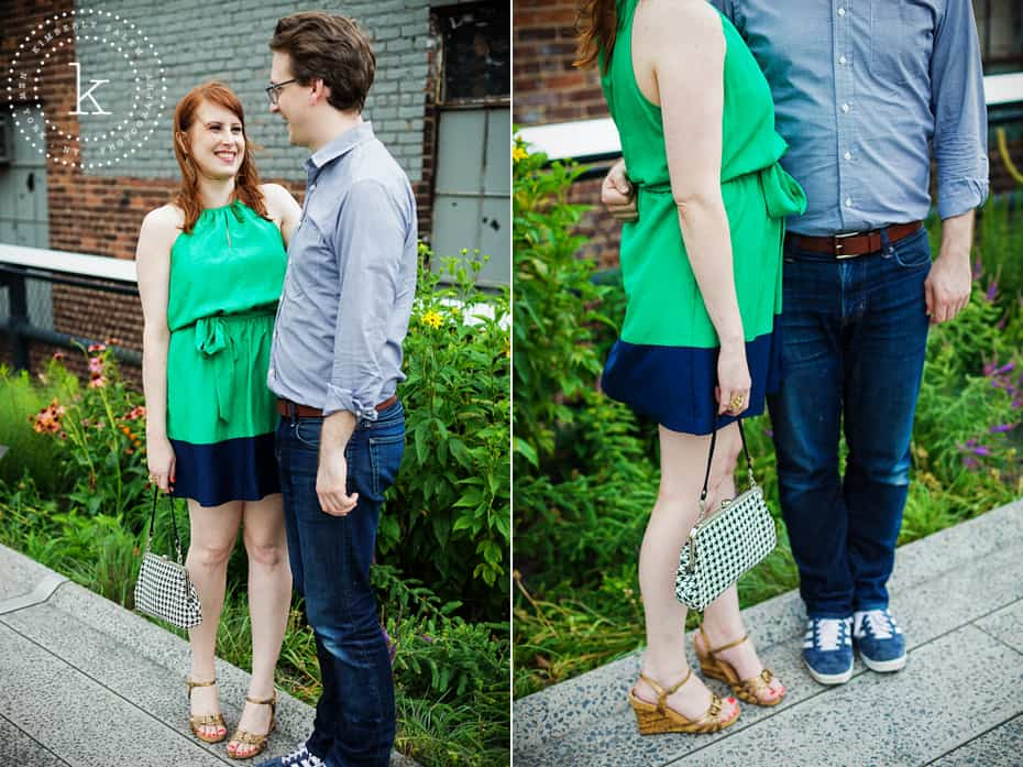 engaged couple - high line park - diptych with shoe and bag detail