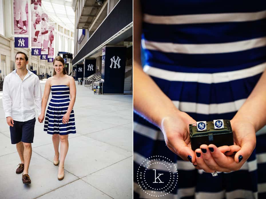 yankee stadium - engaged couple - yankee cufflinks