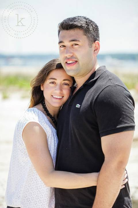 engaged couple at beach - portrait