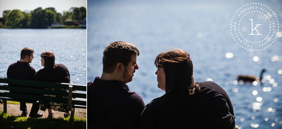 engaged couple and lake in background - long island