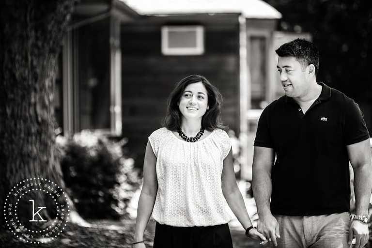 engaged couple candid - black & white