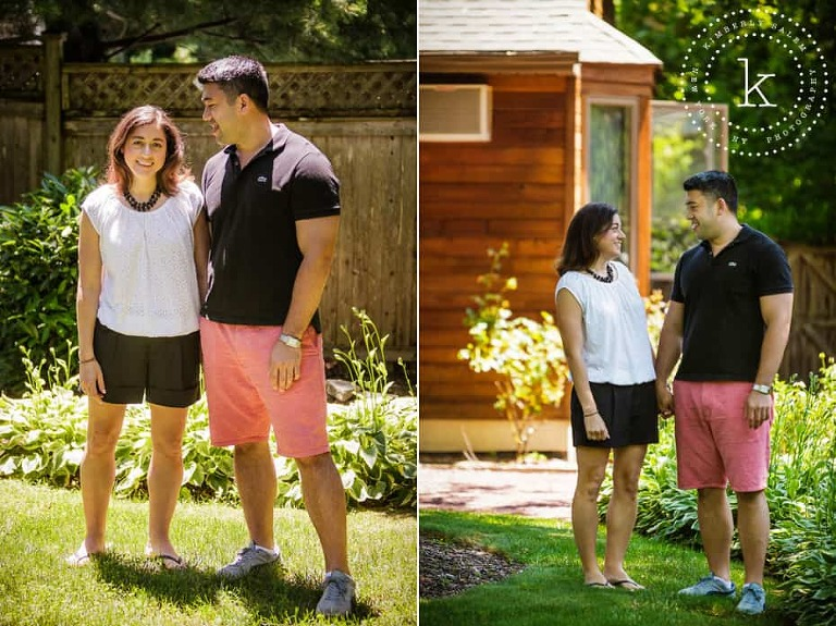 engaged couple diptych in backyard