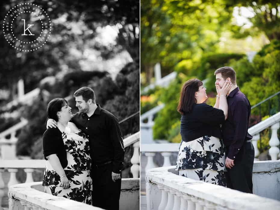 engaged couple chatting in argyle park - diptych - b/w and color