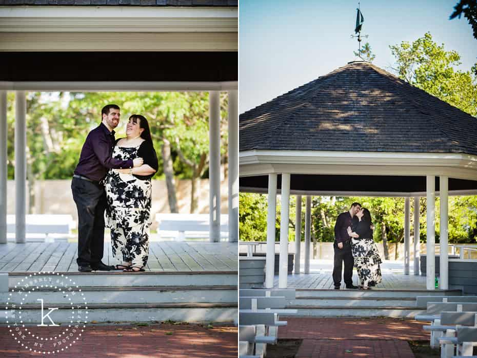 engaged couple in gazebo diptych