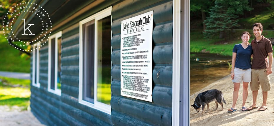 Lake Katonah Club rules - diptych with engaged couple