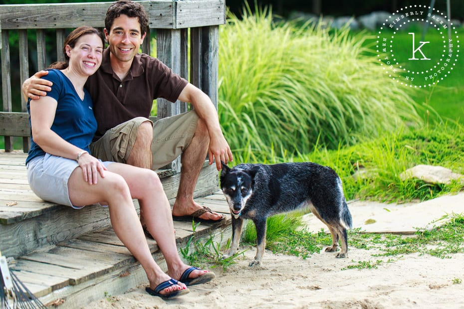 engaged couple with their dog - Lake Katonah NY