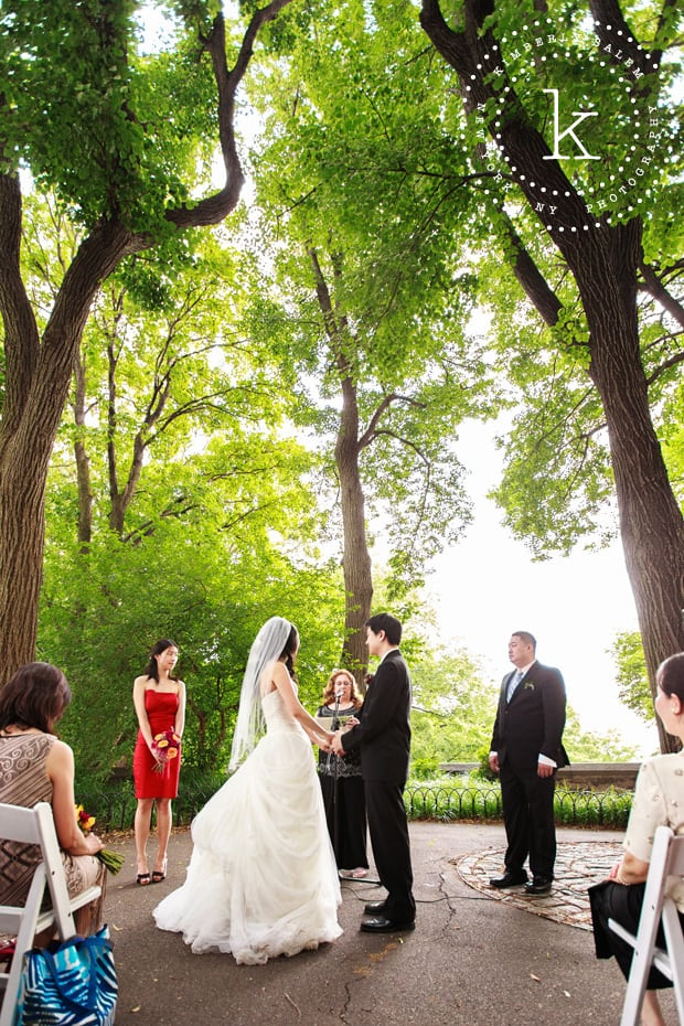 wedding ceremony at Linden Terrace in Fort Tryon Park, NYC