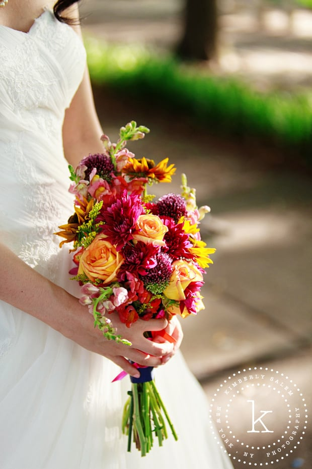 colorful bridal bouquet detail