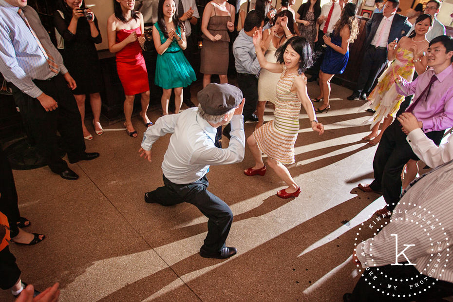 wedding guests get down