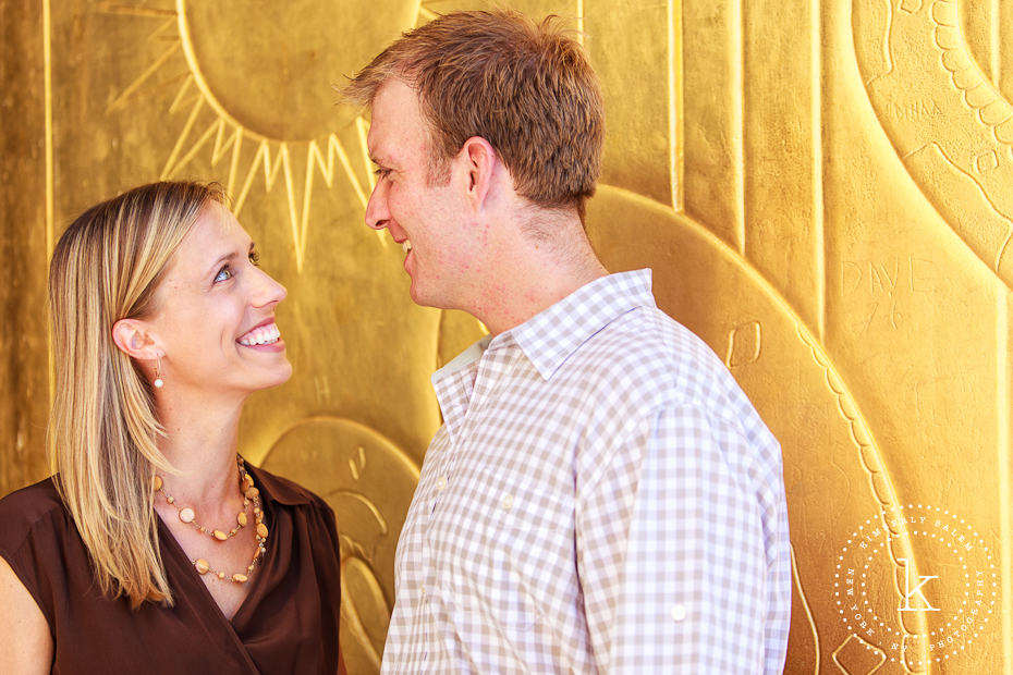 engaged couple at the Brooklyn Library - gold background
