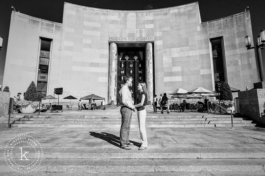 engaged couple at the Brooklyn Library - building in background