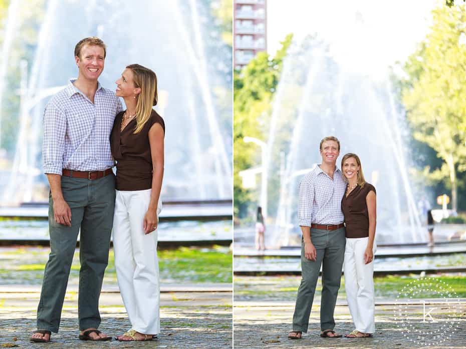 engaged couple - portraits in Brooklyn - Grand Army Plaza with fountain