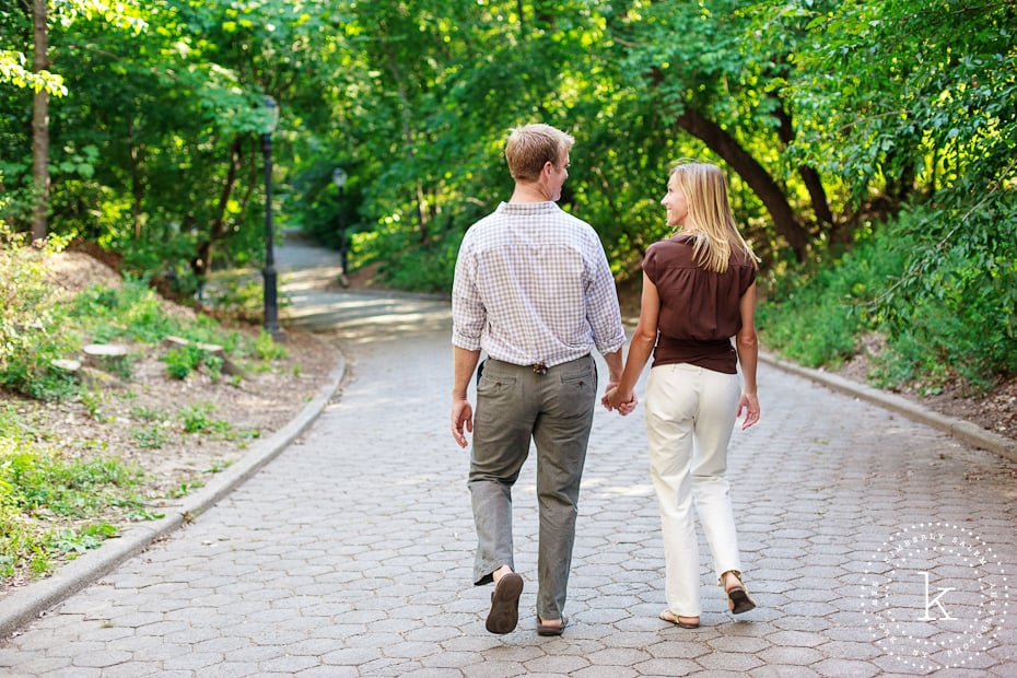 engaged couple - walking in Prospect Park