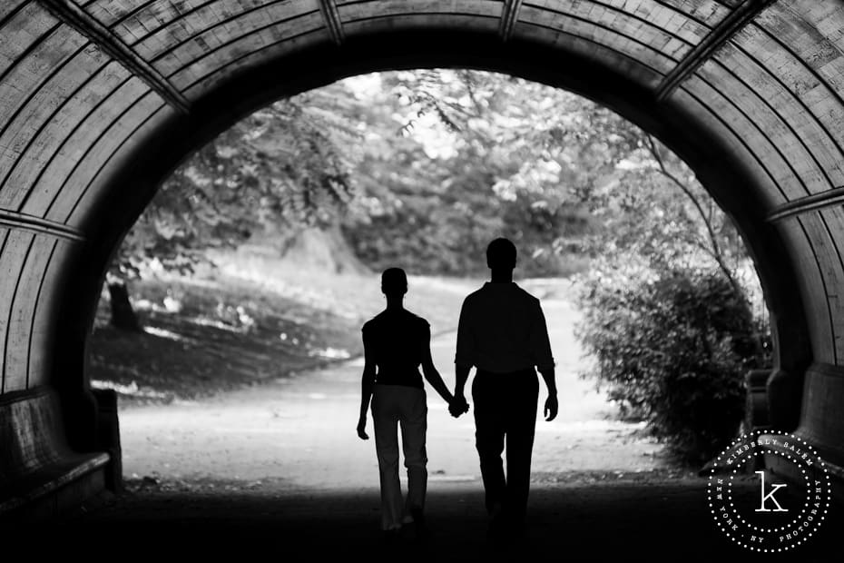 engaged couple - walking in Prospect Park - tunnel silhouette